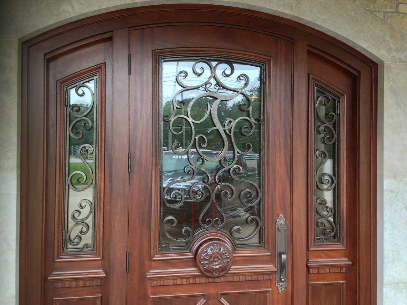 Front door with side windows