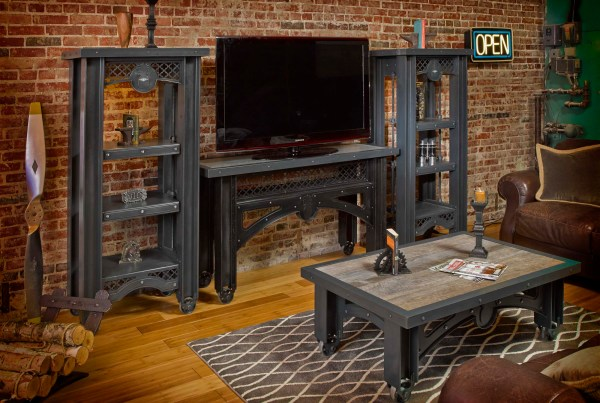 Custom hand-crafted iron furniture in a living room setting