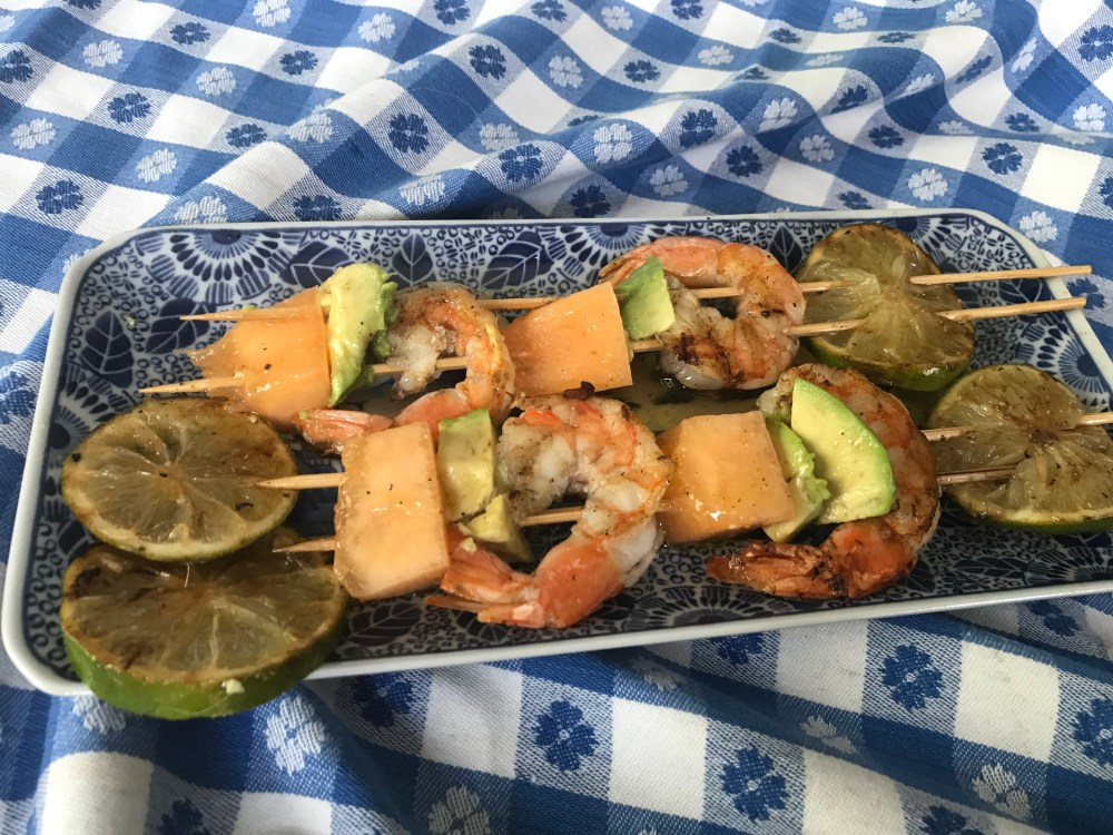 Shrimp, cantaloupe, avocado skewers