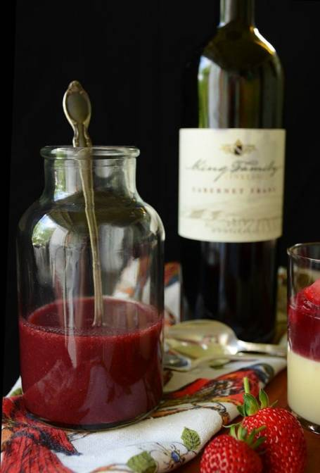 This Elegant Cabernet Strawberry Rhubarb Pudding makes great use of the season's bounty and elevates pudding beyond a children's dessert. | vintagekitty.com