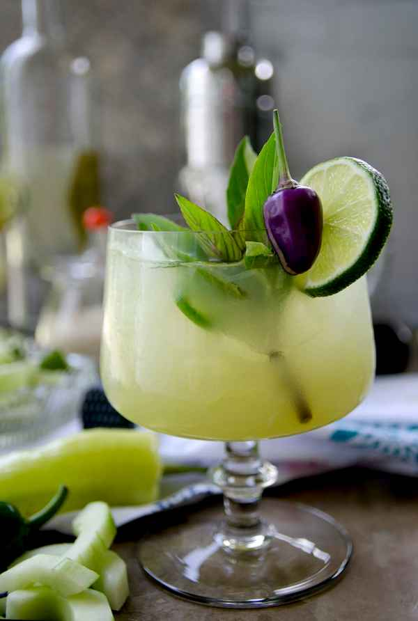Spicy Thai Basil Cucumber Cocktail - Vintage Kitty