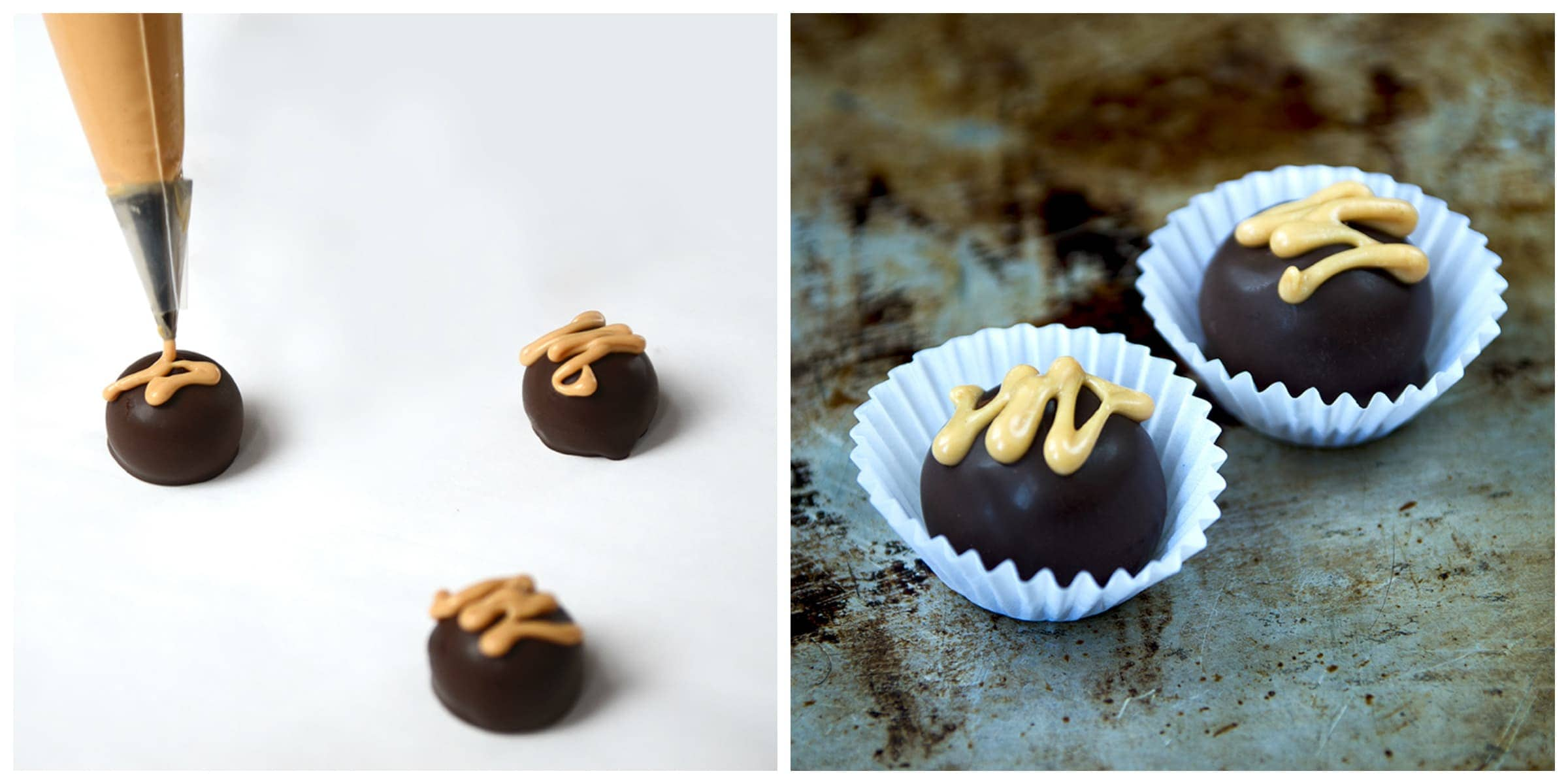 Peanut Butter Honey Dark Chocolate Truffles are a decadent way to celebrate #Chocotoberfest! Filled with a creamy peanut butter and honey filling, these candies are sure to please a crowd. | vintagekitty.com