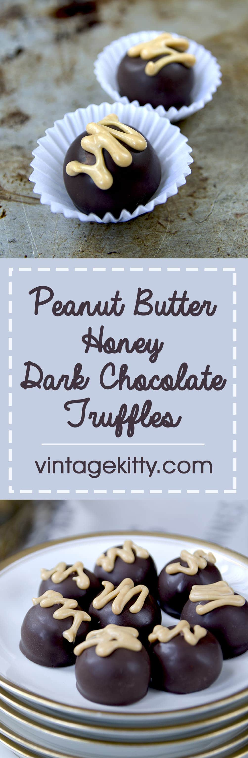 Peanut Butter Honey Dark Chocolate Truffles are a decadent way to celebrate #Chocotoberfest! Filled with a creamy peanut butter and honey filling, these candies are sure to please a crowd.   vintagekitty.com