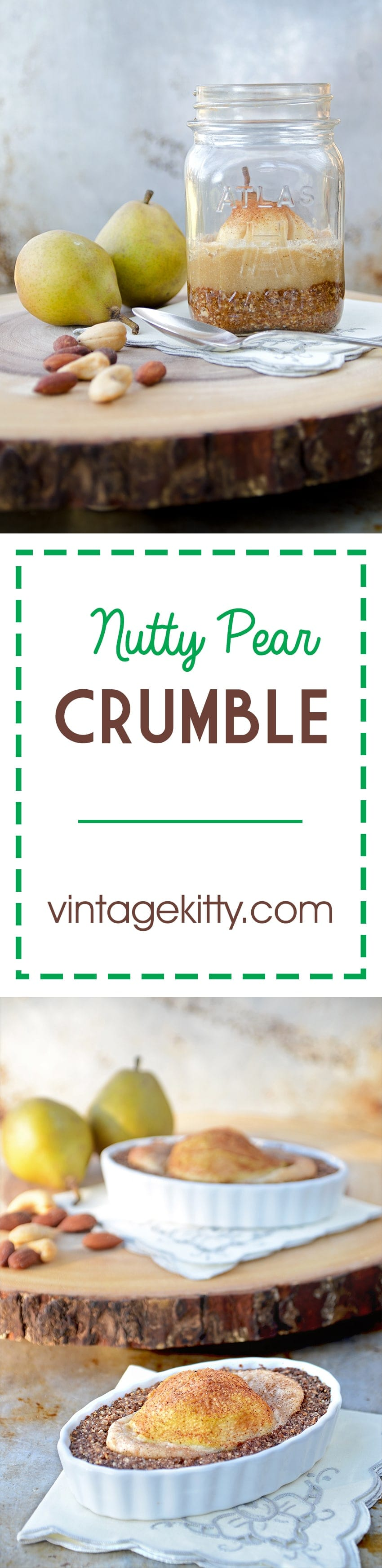 Nutty Pear Crumble is a delicious tart-inspired dessert that features a vegan cashew custard with a gluten-free cookie crumb bottom. | vintagekitty.com