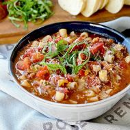 Pizza Soup with Peppers, Italian Sausage and Spices