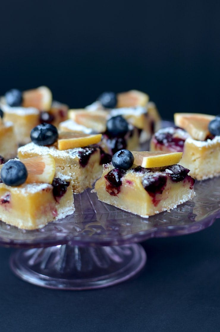 Blueberry Grapefruit Bars are a perfect warm weather dessert that is sweet, refreshing, tart, buttery and best served cold. Scratch baking at it's best!   vintagekitty.com