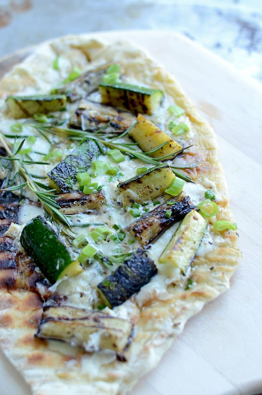 Grilled Vegetable Pizza with Lemon Cream Sauce will take your cookout to the next level. Nothing comes closer to that pizzeria flavor!
