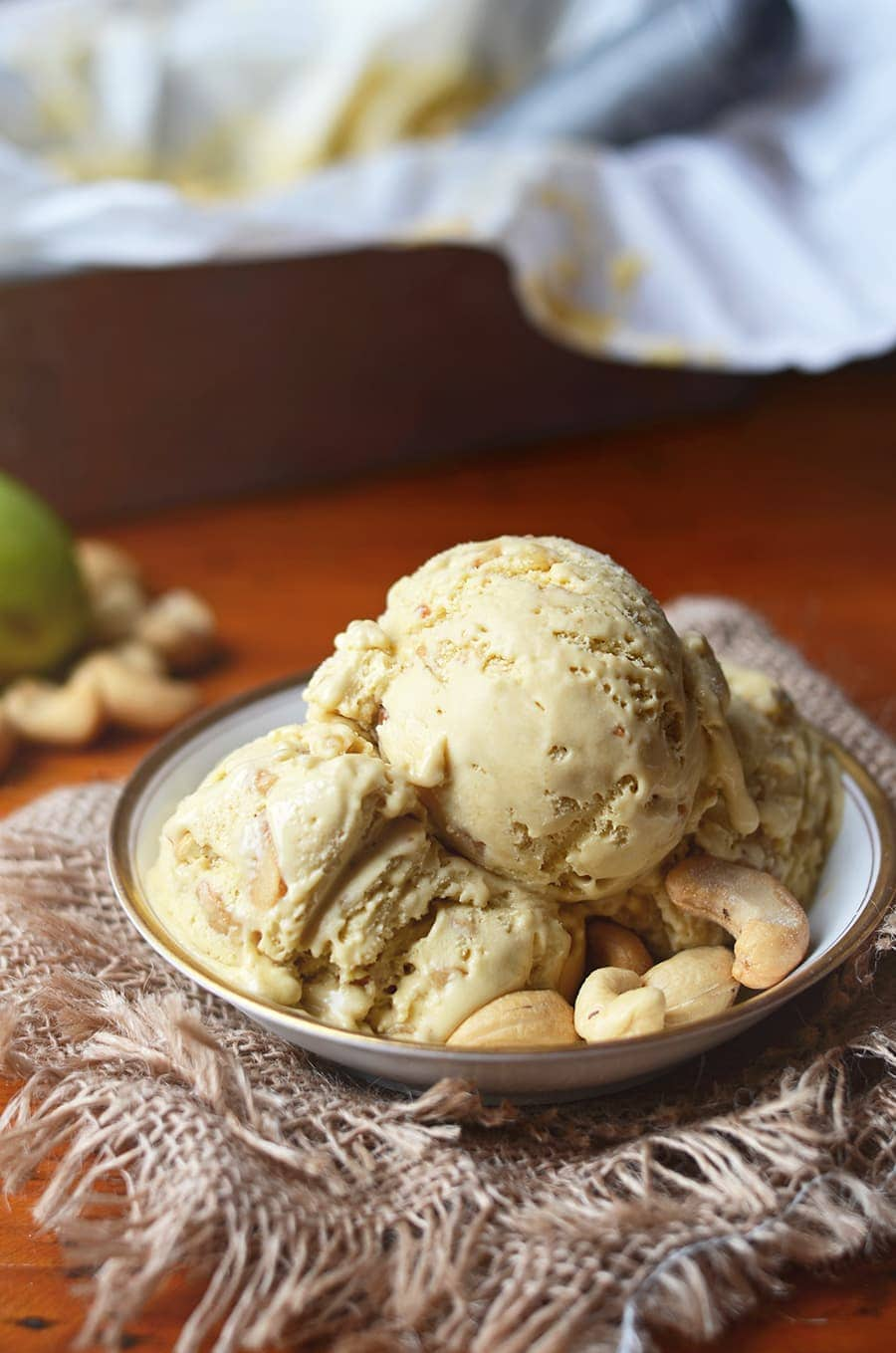This delectable Caramel Pawpaw Ice Cream scratches all your sinful itches. It's creamy, crunchy, salty, and sweet with a hint of banana mango flavor from exotic pawpaw fruit.