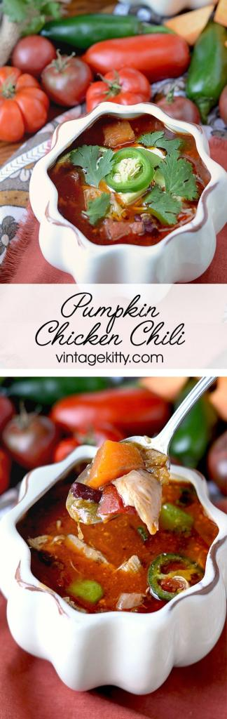 This crock-pot Pumpkin Chicken Chili recipe is spicy, hearty and extra delicious. Making dinner from scratch just got easier!