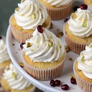Pomegranate Pistachio Cupcakes with Greek Yogurt Buttercream