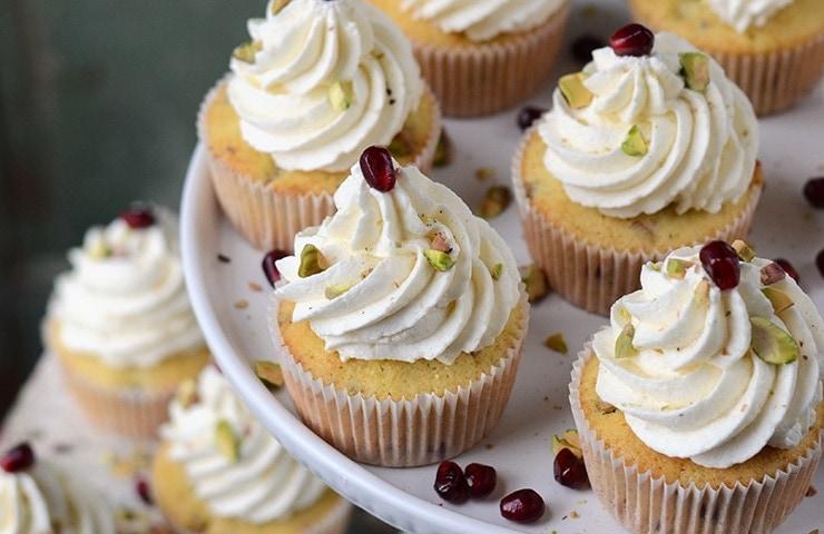 Pomegranate Pistachio Cupcakes </br>with Greek Yogurt Buttercream