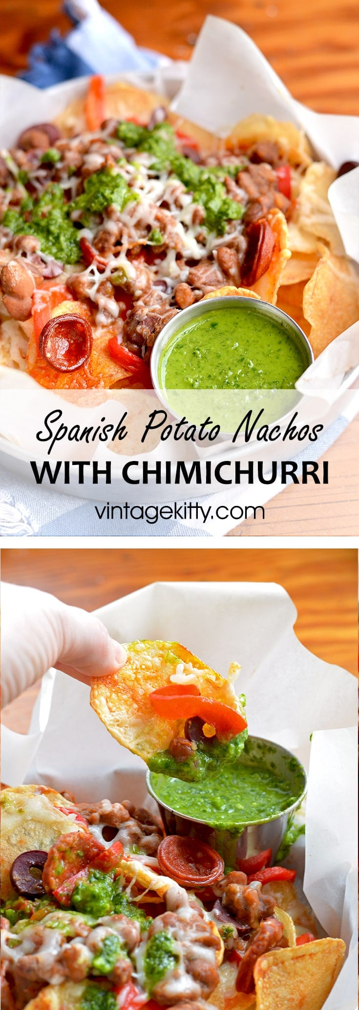 Homemade potato chips get loaded with savory ingredients in this Spanish Potato Nachos recipe. Far from ordinary, these nachos are topped with Manchego cheese, Chorizo sausage and served with a fresh, zesty Chimichurri.