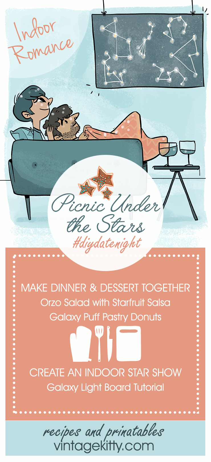 Picnic Under the Stars- #diydatenight. All-star lineup: Orzo Salad with Starfruit Salsa, Galaxy Donuts and Galaxy Light Board craft. You provide the romance