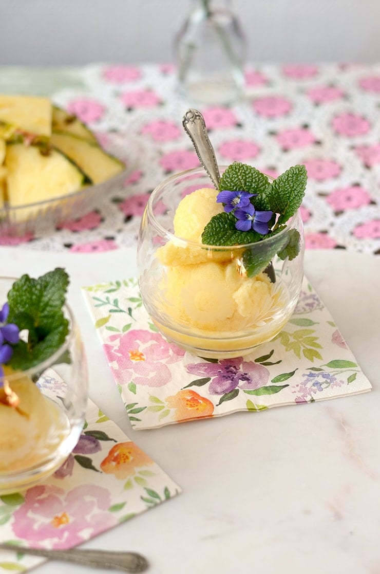 Nothing is as cool as frozen bubbly! Prosecco Pineapple Sorbet Floats are perfect for special occasions, but not too fussy for a casual affair.