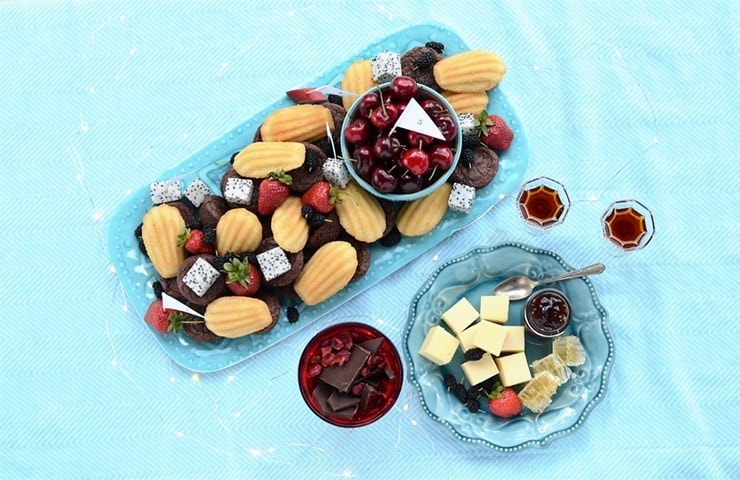 Trays with Desserts, Cheese and Fruits for Taste Testing