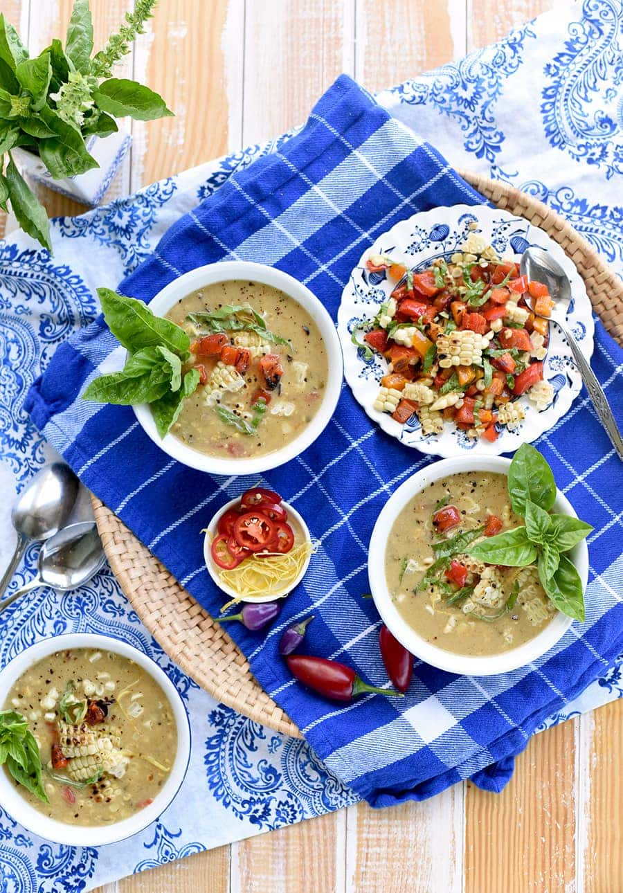 We've packed a little more summer into our Grilled Summer Corn Chowder recipe by adding sweet peppers, jalapeno and fresh basil to sweet grilled corn.