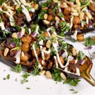 Stuffed Eggplant with Lemon Tahini Dressing