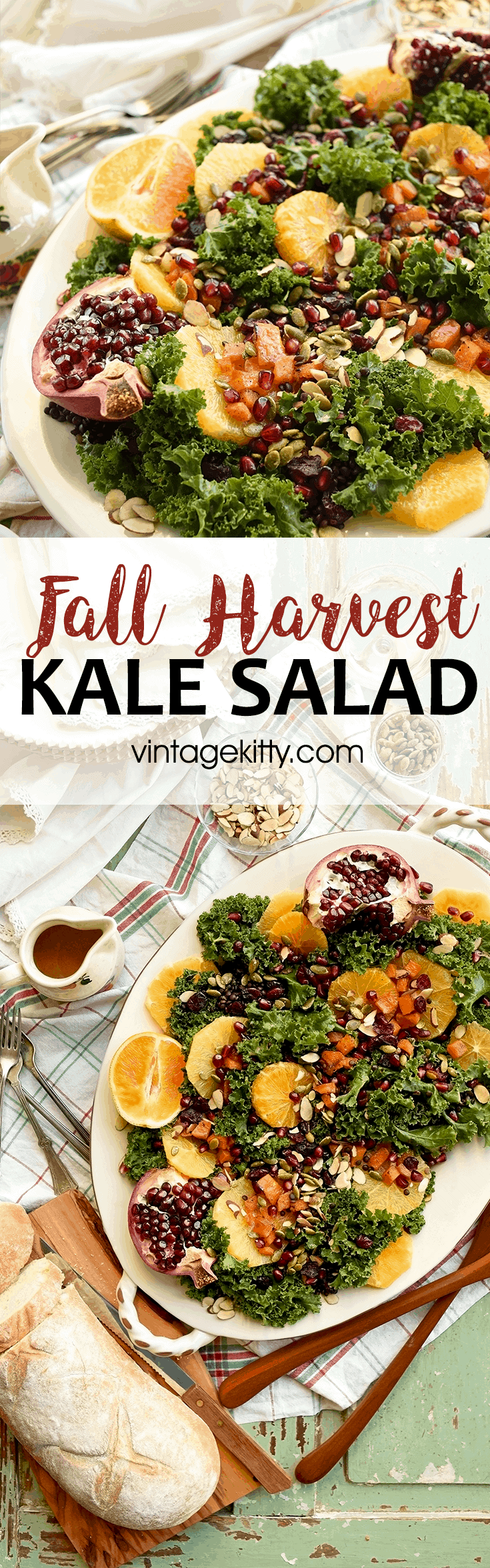Colorful, fresh and seasonal, this Fall Harvest Kale Salad will bring everyone to the dinner table! #kalesalad #thanksgiving #vegan