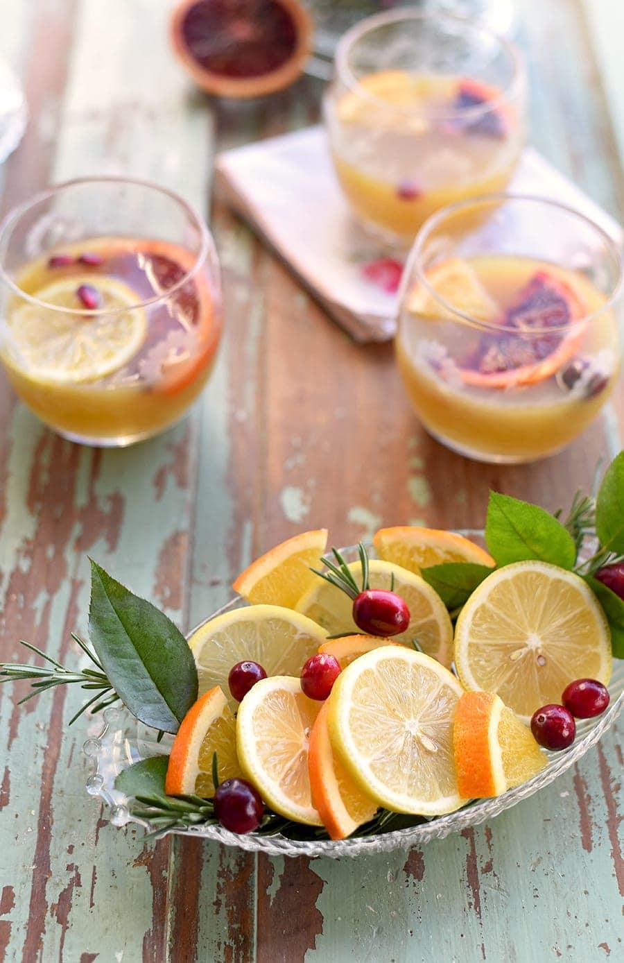 Lemons, oranges and cranberries for cocktail garnish