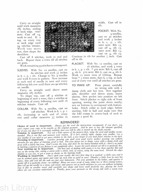 Stitchcraft leaflet 143 30s jumper with collar
