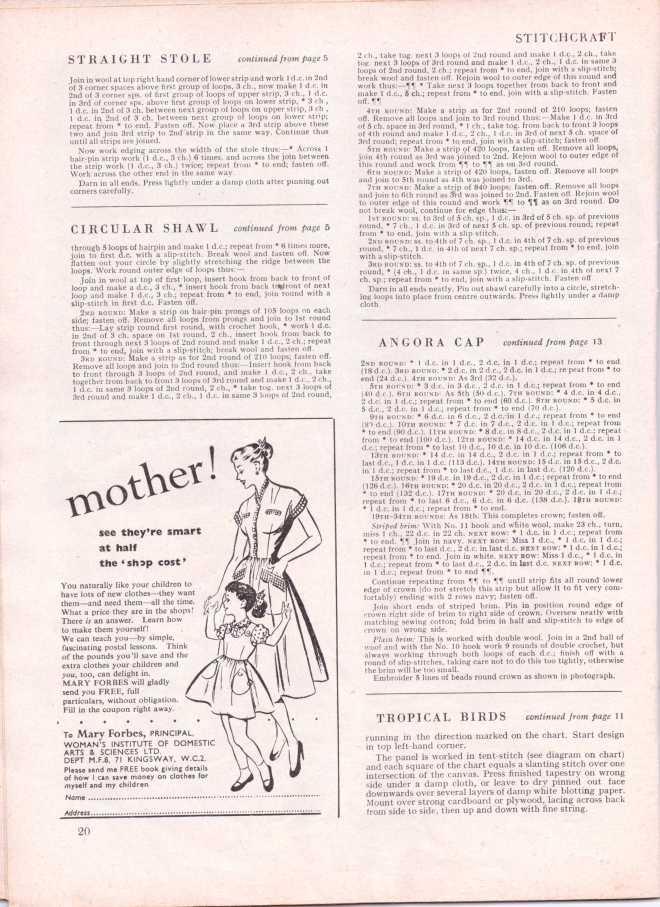 vintage knitting patternstitchcraftjune195223