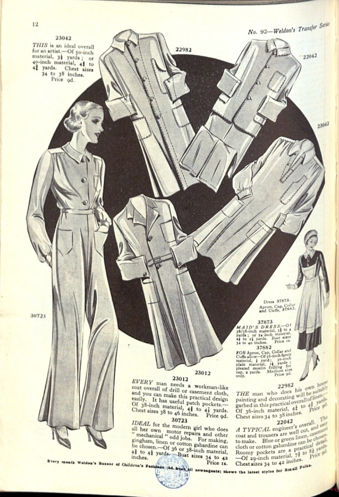 thirties 30s pattern catalogue scan overalls smock