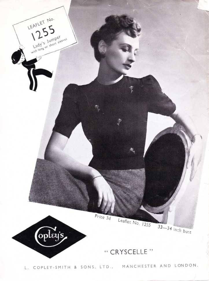 Copley's 1255 Knitting Pattern WW2 top