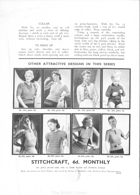 Free vintage knitting pattern from late thirties page 4