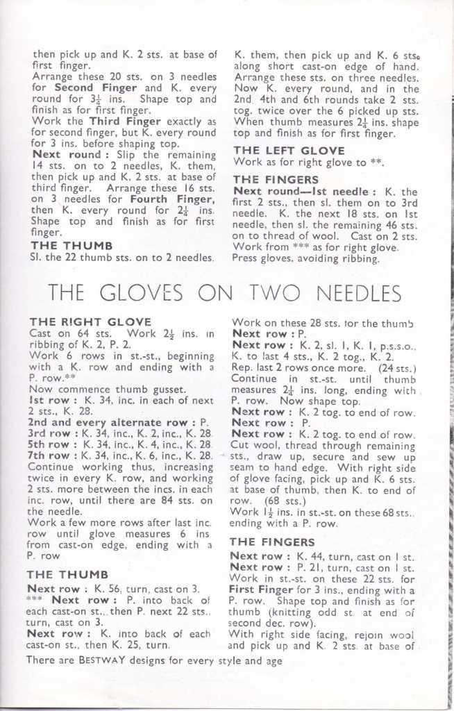 Bestway 1777 men's gloves free knitting pattern 2