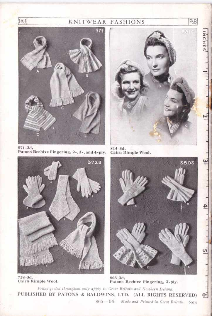 P &B 865 ladies gloves free knitting pattern 5