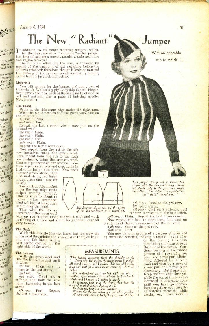 Free Vintage Knitting Pattern: An Adorable Little Jumper from Mab's Weekly