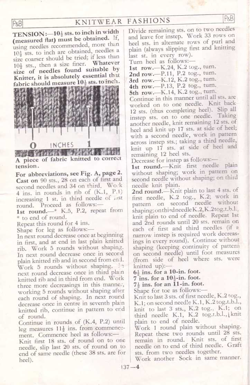 men's socks free knitting pattern 3