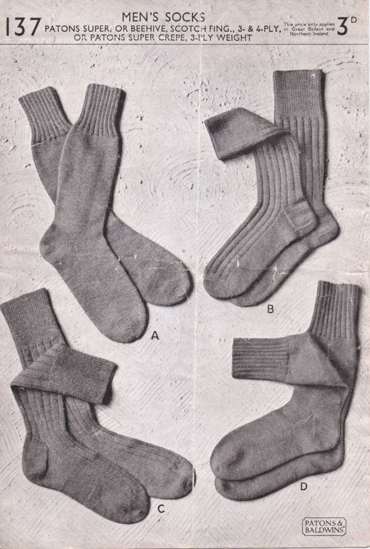 men's socks free knitting pattern