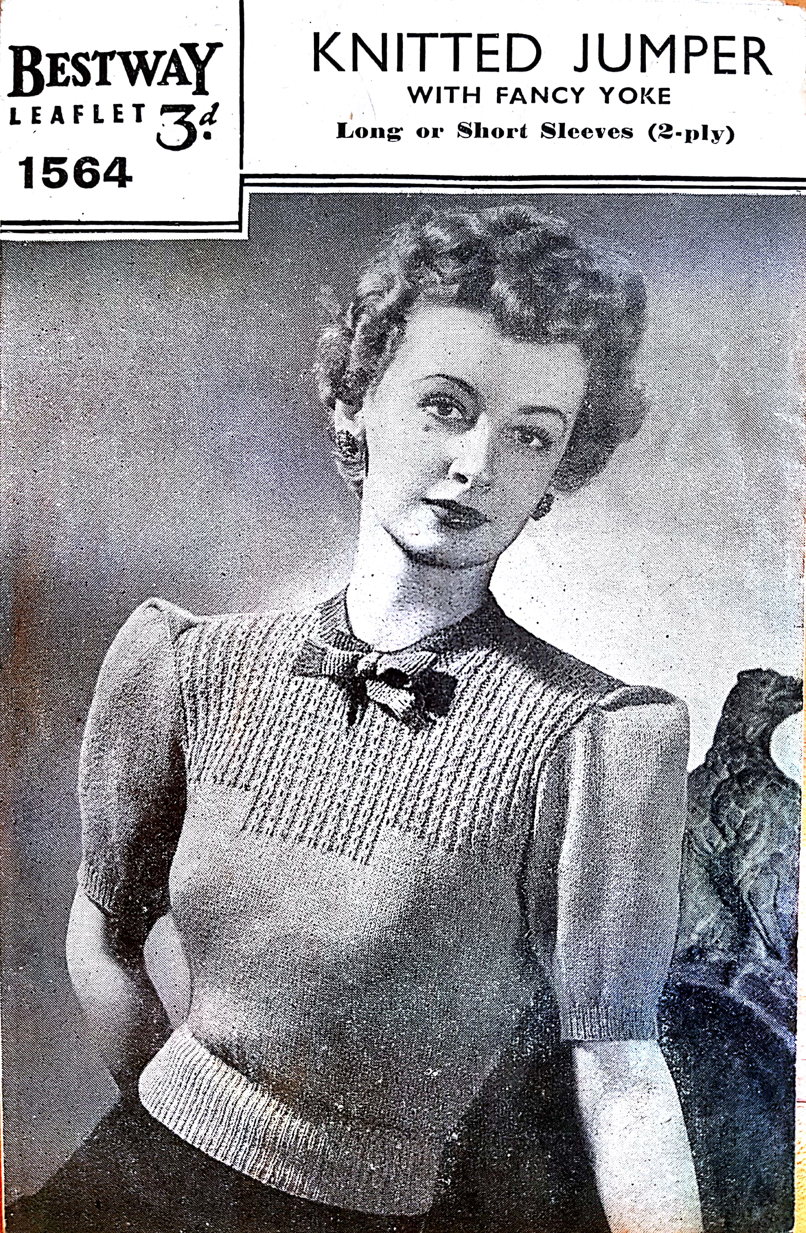 1940s Lace and Fair Isle Blouse 2-Ply Knitting Pattern PDF Download Vintage Knitting Pattern