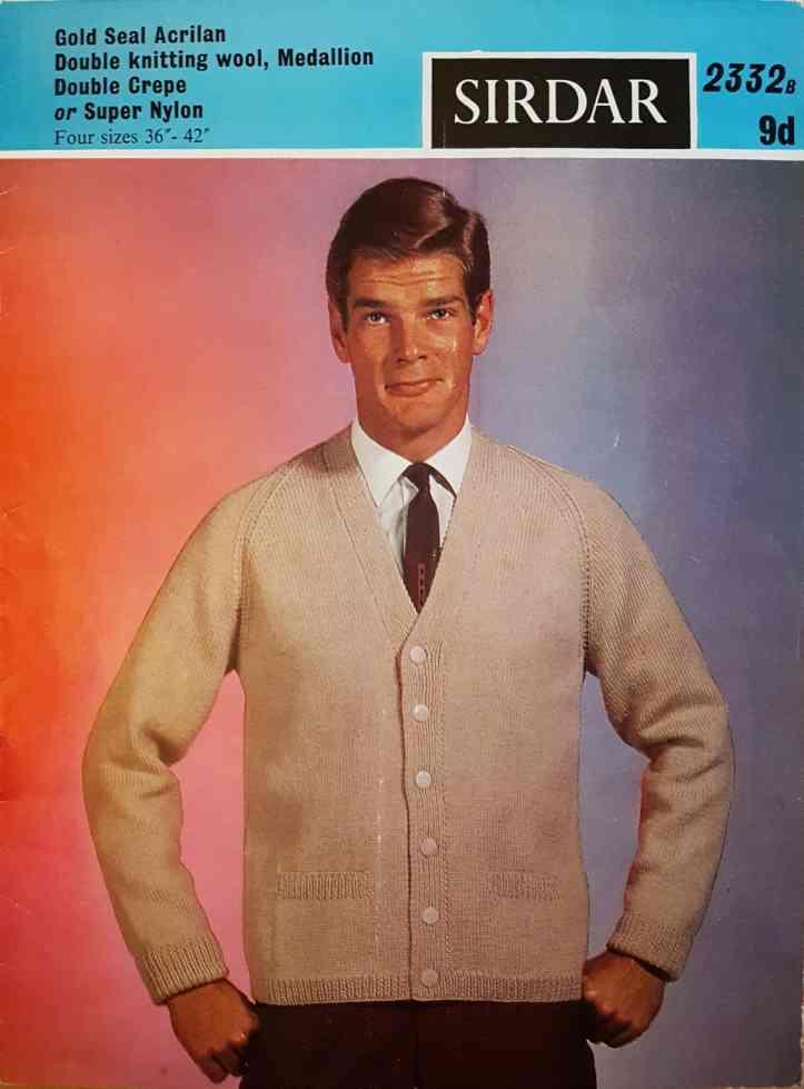 10f9b4f75782 Free Vintage Knitting Pattern – Roger Moore  in a cardigan knitting pattern  Sirdar 2332