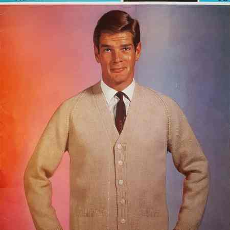 ab9bc8da7 Free Vintage Knitting Pattern – Roger Moore  in a cardigan knitting pattern  Sirdar 2332