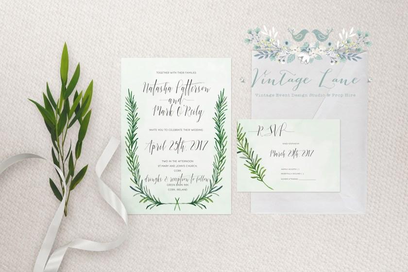 Boho Wedding Invitations Ireland Style Feather Cork Vinelane Design Studio Kate Kosareva