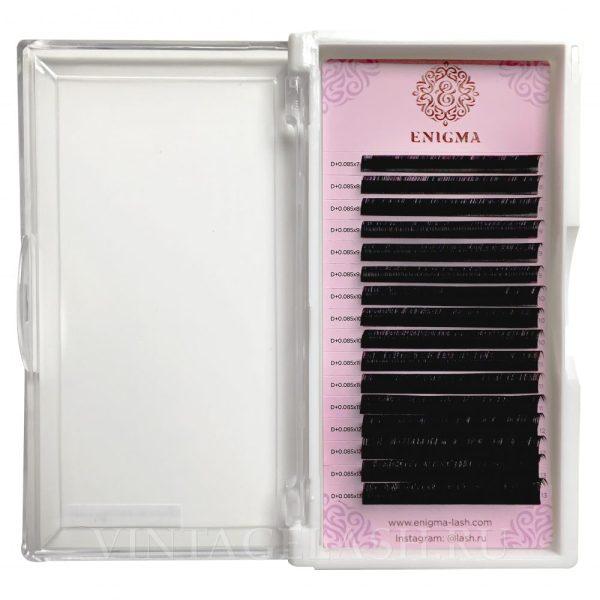 Черные ресницы Enigma Изгиб D+ (микс) 16 линий