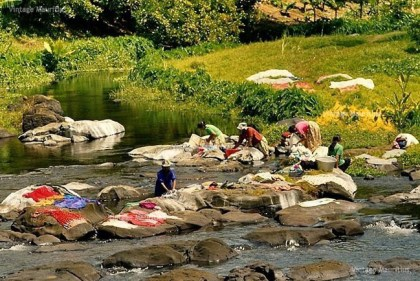 Women doing laundry in the rivers