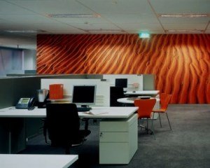 Reforma de oficina con colores fuertes