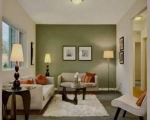 Decoración de chalets salón con uns pared verde