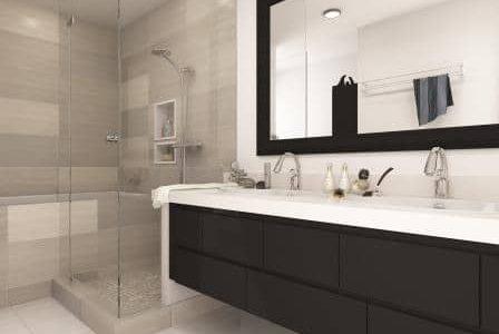 Substituição de banheira por base de duche.