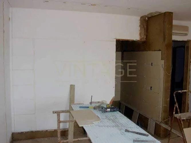 Remodelação geral:Levantamento de parede nova