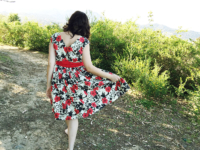 The Spring for Cotton Dress, V8789, back view   @vintageontap