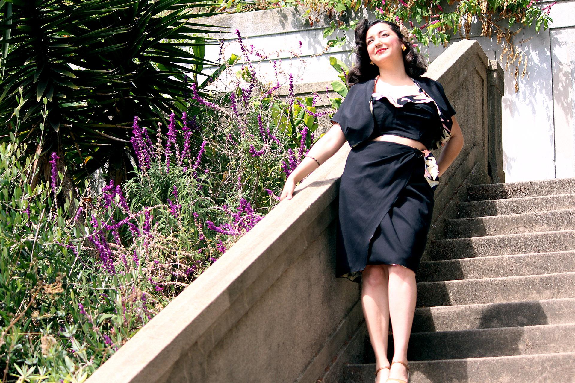 Reversible Tiki outfit, Gertie's Butterick B6354 | @vintageontap