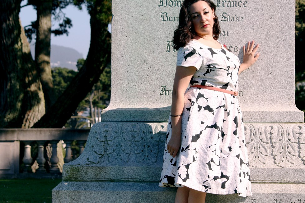 Modeling the Colette Rue dress made with supplies purchased at Mood Fabrics | @vintageontap