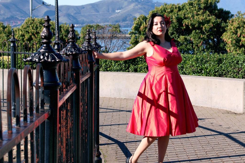 Butterick B5603 Pinup dress, silk dupioni   @VintageonTap