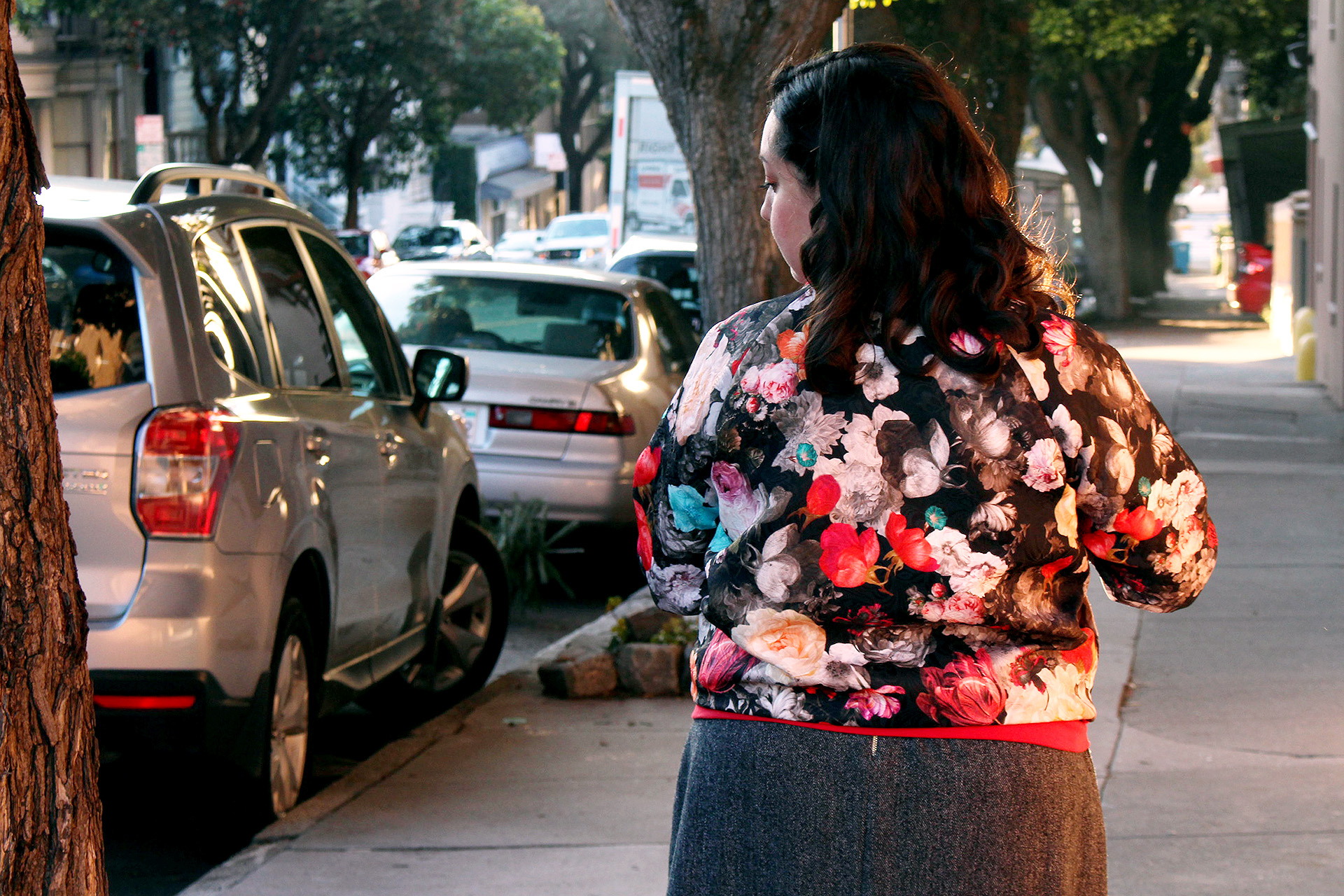 Back view, Rockabilly Bomber sewn with the Rigel Bomber pattern | @VintageonTap