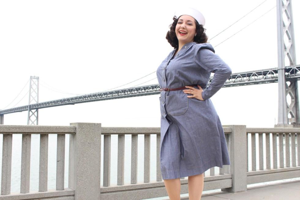 Vintage sewing, retro Butterick 6282 navy dress | Vintage on Tap