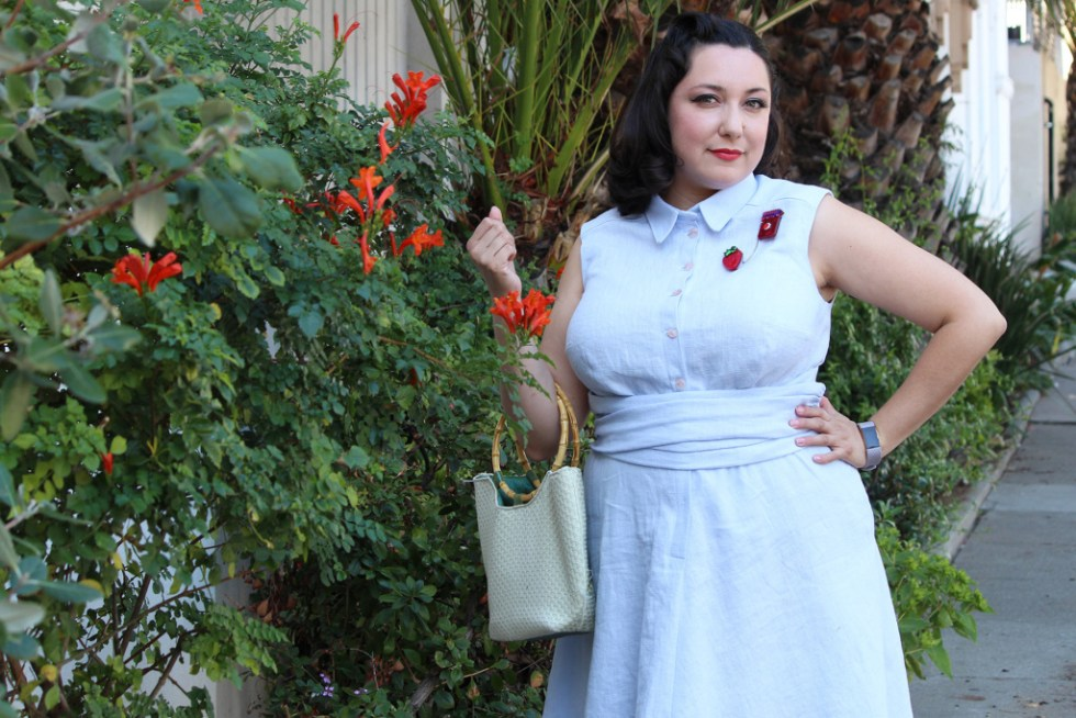 Front view of the Colette Penny dress, a 1950s vintage inspired sewing project | Vintage on Tap